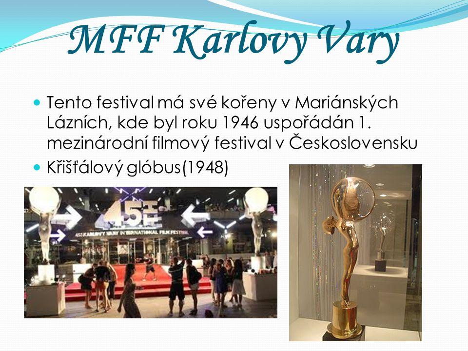 MFF Karlovy Vary Tento festival má své kořeny v Mariánských Lázních, kde byl roku 1946 uspořádán 1. mezinárodní filmový festival v Československu Křiš