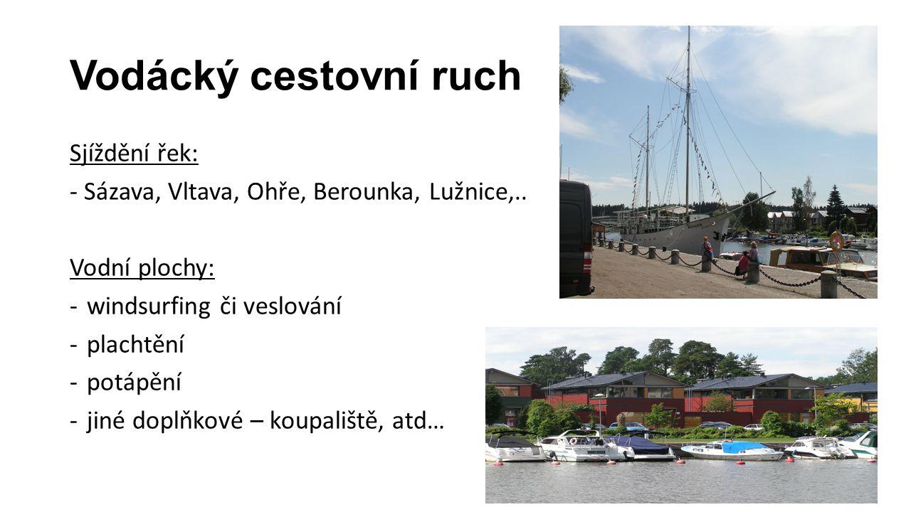 Vodácký cestovní ruch Sjíždění řek: - Sázava, Vltava, Ohře, Berounka, Lužnice,.. Vodní plochy: -windsurfing či veslování -plachtění -potápění -jiné do