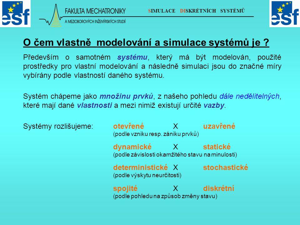 SIMULACE DISKRÉTNÍCH SYSTÉMŮ O čem vlastně modelování a simulace systémů je .