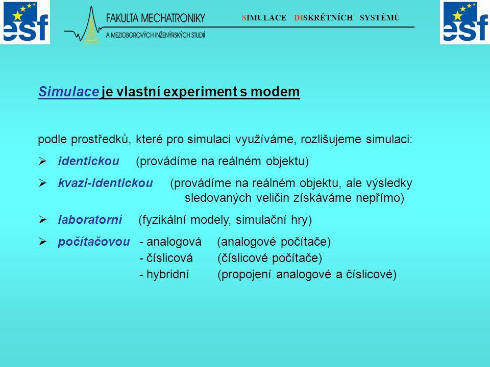 SIMULACE DISKRÉTNÍCH SYSTÉMŮ Simulace je vlastní experiment s modem podle prostředků, které pro simulaci využíváme, rozlišujeme simulaci:  identickou (provádíme na reálném objektu)  kvazi-identickou (provádíme na reálném objektu, ale výsledky sledovaných veličin získáváme nepřímo)  laboratorní (fyzikální modely, simulační hry)  počítačovou - analogová (analogové počítače) - číslicová (číslicové počítače) - hybridní (propojení analogové a číslicové)