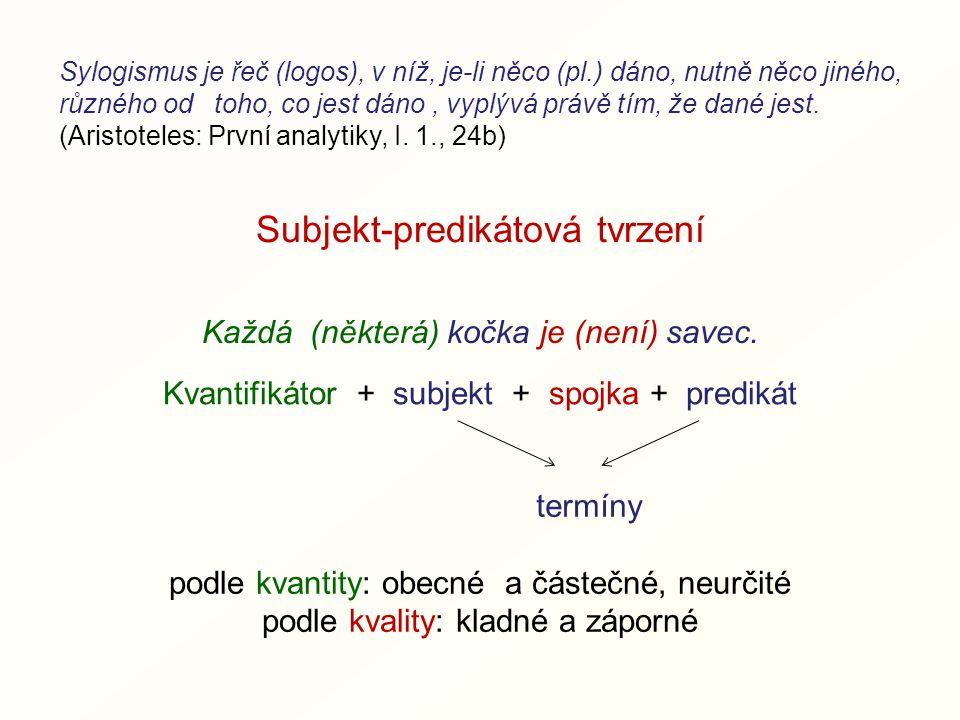 Subjekt-predikátová tvrzení Kvantifikátor + subjekt + spojka + predikát Každá (některá) kočka je (není) savec.