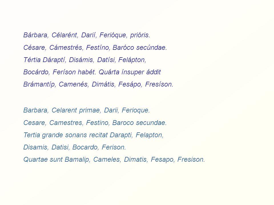 Barbara, Celarent primae, Darii, Ferioque. Cesare, Camestres, Festino, Baroco secundae.