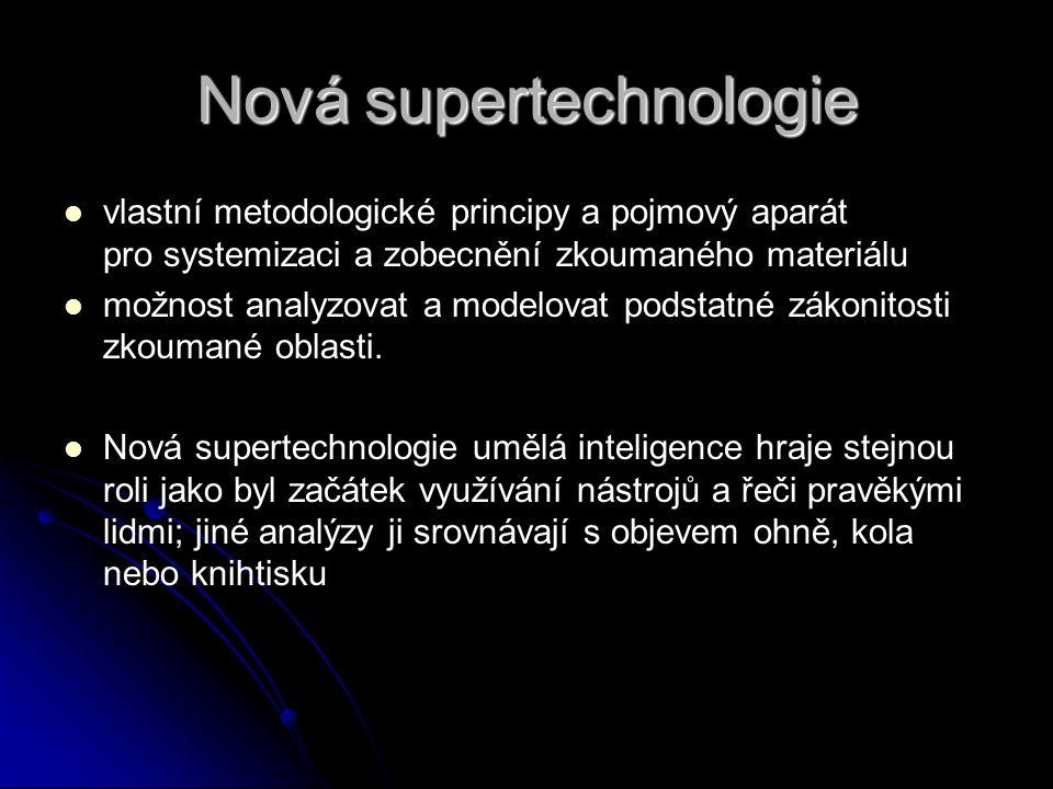 Nová supertechnologie vlastní metodologické principy a pojmový aparát pro systemizaci a zobecnění zkoumaného materiálu možnost analyzovat a modelovat