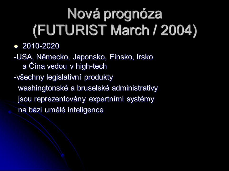 Nová prognóza (FUTURIST March / 2004) 2010-2020 2010-2020 -USA, Německo, Japonsko, Finsko, Irsko a Čína vedou v high-tech -všechny legislativní produk