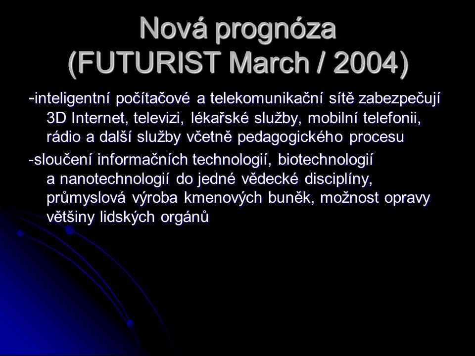 Nová prognóza (FUTURIST March / 2004) - inteligentní počítačové a telekomunikační sítě zabezpečují 3D Internet, televizi, lékařské služby, mobilní tel