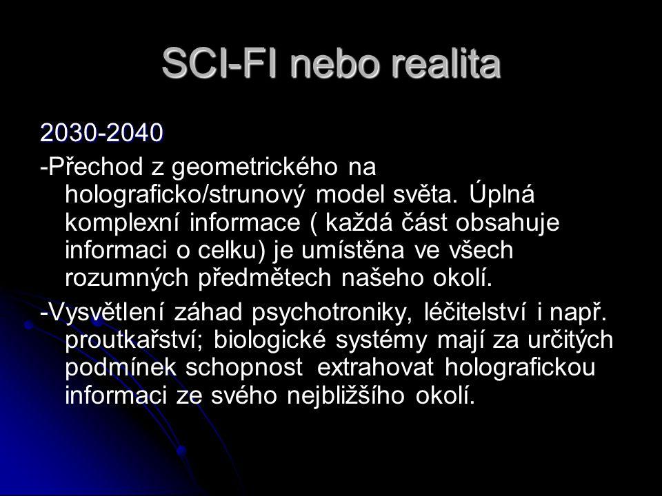 SCI-FI nebo realita 2030-2040 -Přechod z geometrického na holograficko/strunový model světa. Úplná komplexní informace ( každá část obsahuje informaci