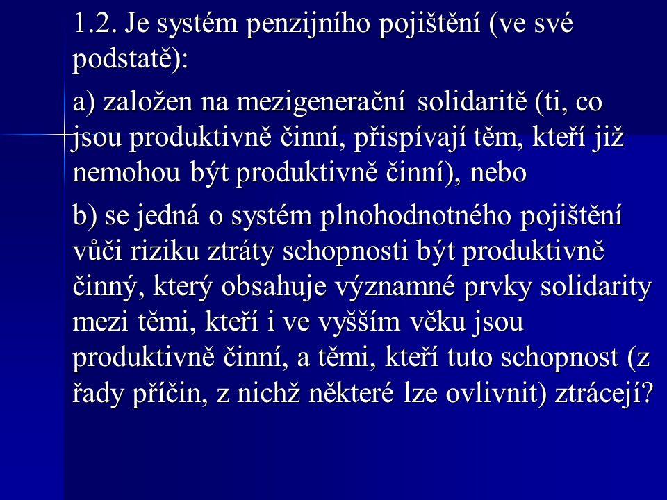 1.2. Je systém penzijního pojištění (ve své podstatě): a) založen na mezigenerační solidaritě (ti, co jsou produktivně činní, přispívají těm, kteří ji