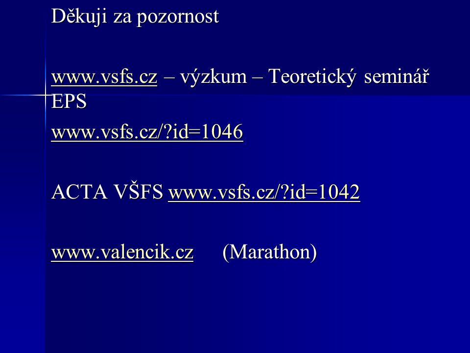 Děkuji za pozornost www.vsfs.czwww.vsfs.cz – výzkum – Teoretický seminář EPS www.vsfs.cz www.vsfs.cz/ id=1046 ACTA VŠFS www.vsfs.cz/ id=1042 www.vsfs.cz/ id=1042 www.valencik.czwww.valencik.cz (Marathon) www.valencik.cz