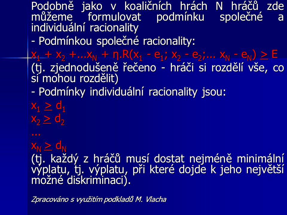 Podobně jako v koaličních hrách N hráčů zde můžeme formulovat podmínku společné a individuální racionality - Podmínkou společné racionality: x 1 + x 2 +...x N + η.R(x 1 - e 1 ; x 2 - e 2 ;...