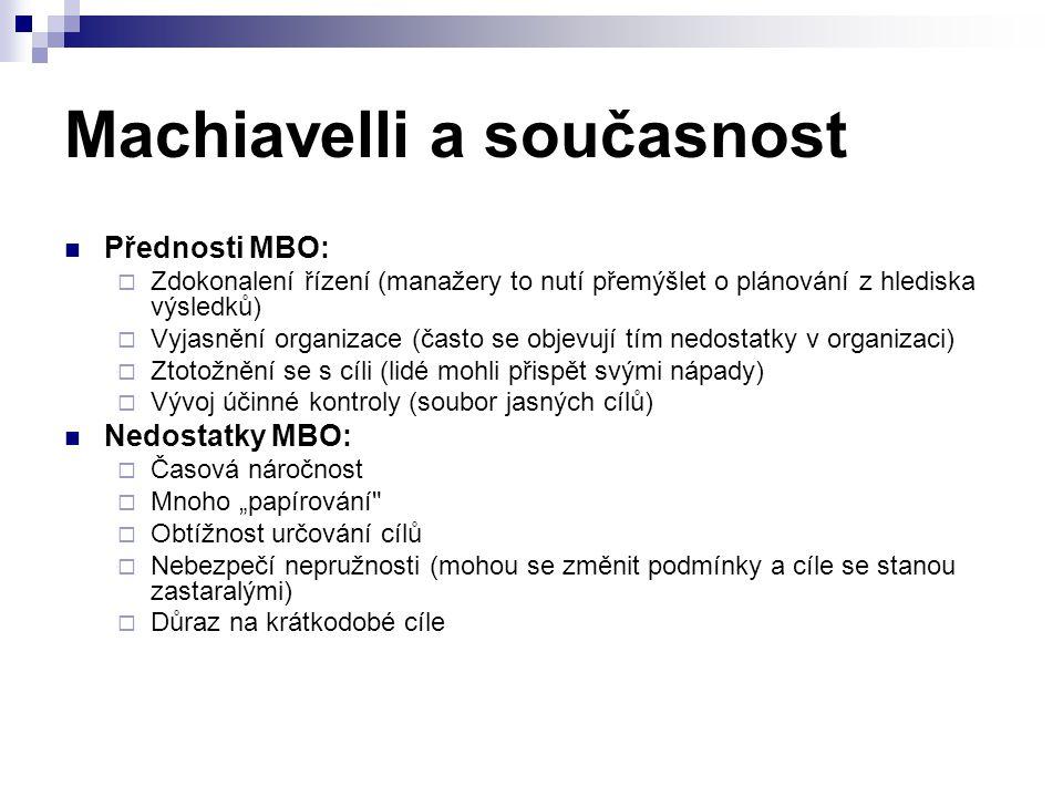 Machiavelli a současnost Přednosti MBO:  Zdokonalení řízení (manažery to nutí přemýšlet o plánování z hlediska výsledků)  Vyjasnění organizace (čast