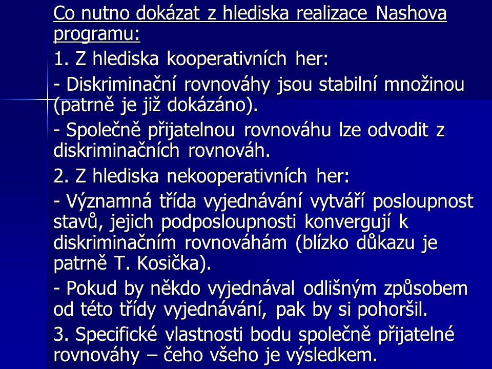 Co nutno dokázat z hlediska realizace Nashova programu: 1.