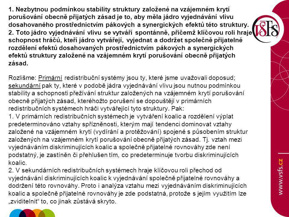 1. Nezbytnou podmínkou stability struktury založené na vzájemném krytí porušování obecně přijatých zásad je to, aby měla jádro vyjednávání vlivu dosah