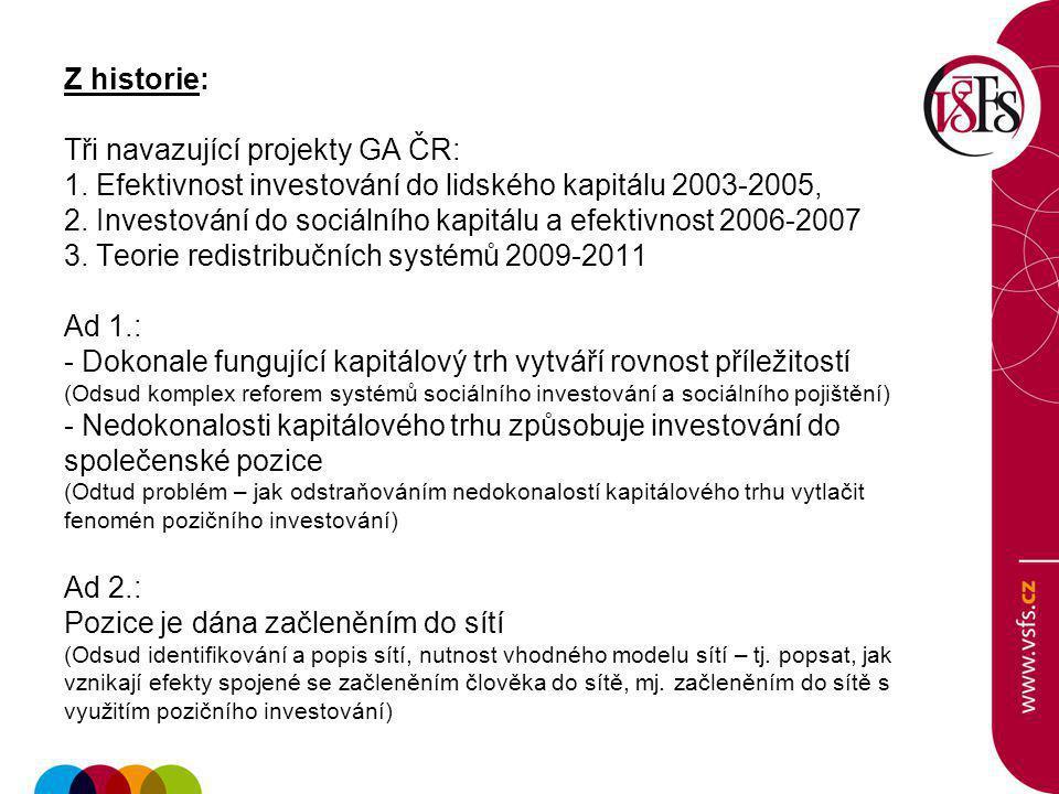Z historie: Tři navazující projekty GA ČR: 1.