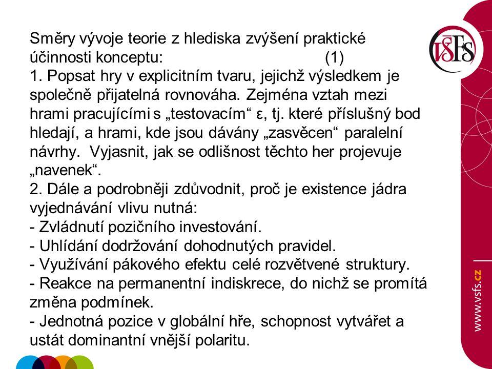 Směry vývoje teorie z hlediska zvýšení praktické účinnosti konceptu:(1) 1.