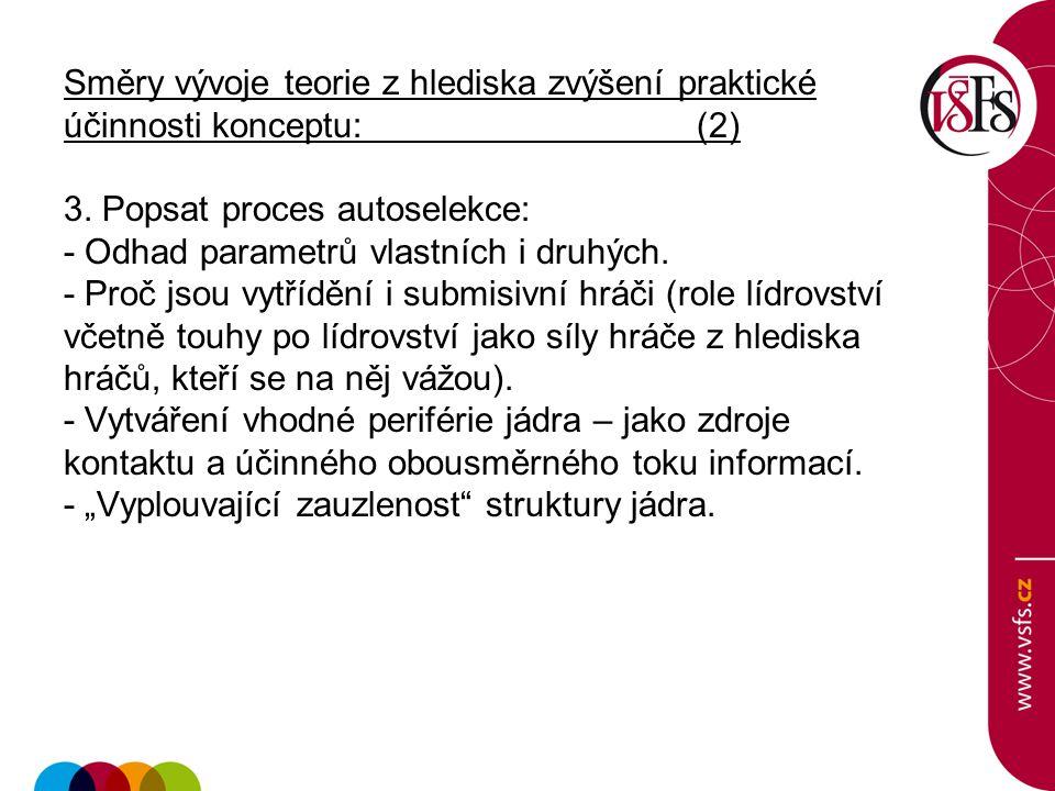 Směry vývoje teorie z hlediska zvýšení praktické účinnosti konceptu:(2) 3.