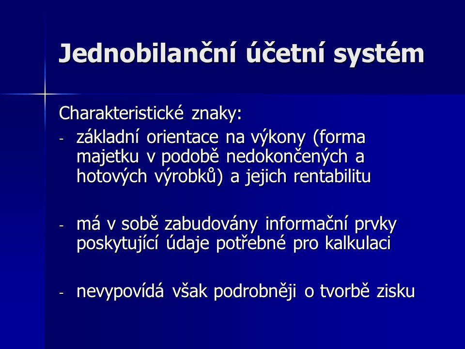 Jednobilanční účetní systém Dvě vývojová stadia: - Nerozvinutý rozvahový systém - Rozvinutý rozvahový systém