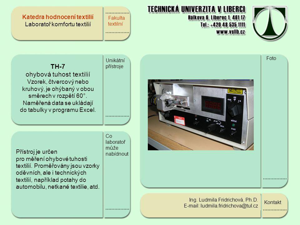 Fakulta textilní Školení kontakty Foto Katedra hodnocení textilií Nabídka spolupráce s textilním průmyslem  Ing.