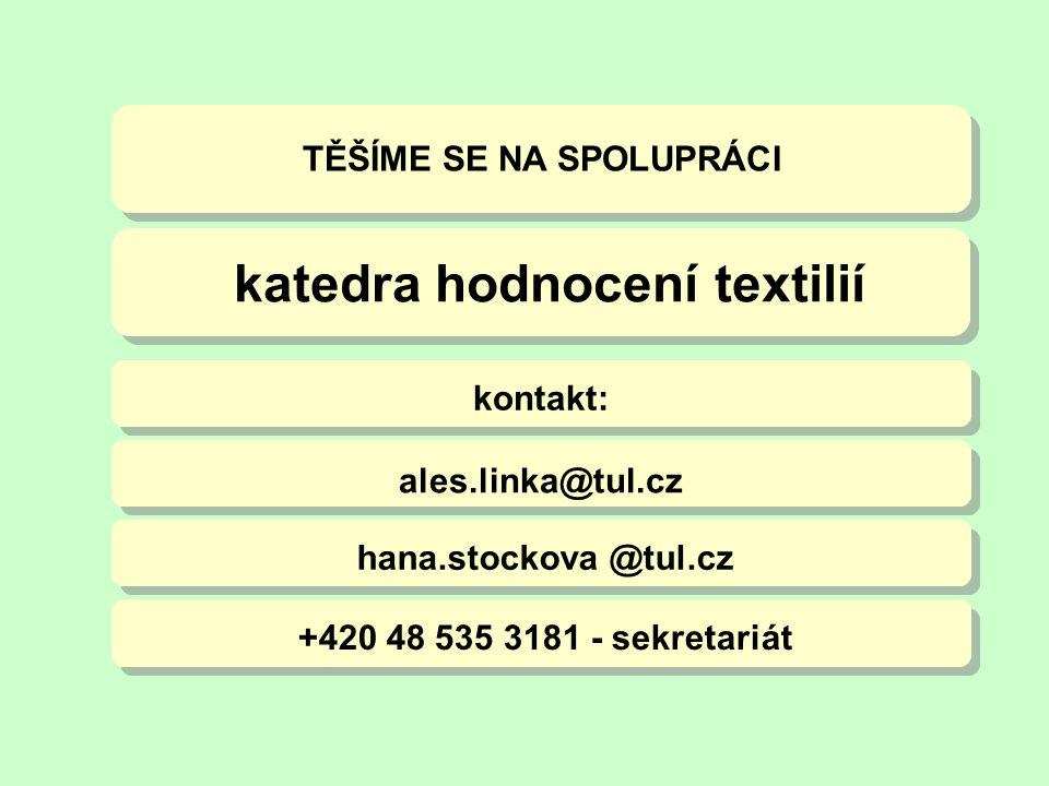 TĚŠÍME SE NA SPOLUPRÁCI ales.linka@tul.cz hana.stockova @tul.cz +420 48 535 3181 - sekretariát kontakt: katedra hodnocení textilií