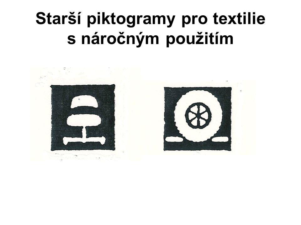 Starší zahraniční piktogramy pro bytové textilie