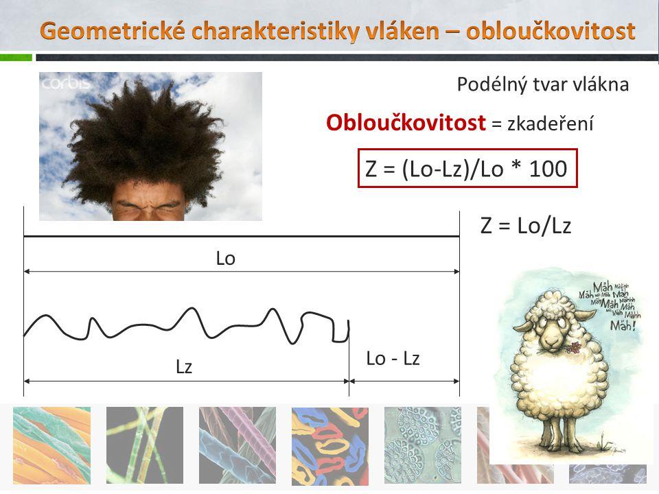 Lo Lz Lo - Lz Z = (Lo-Lz)/Lo * 100 Z = Lo/Lz Podélný tvar vlákna Obloučkovitost = zkadeření