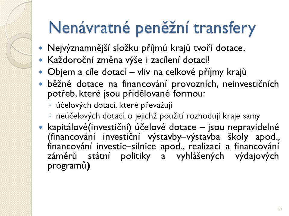 Nenávratné peněžní transfery Nejvýznamnější složku příjmů krajů tvoří dotace.