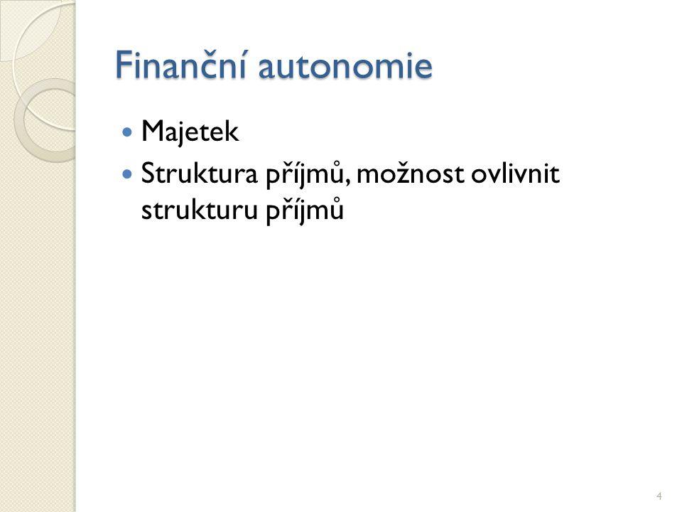 Finanční autonomie Majetek Struktura příjmů, možnost ovlivnit strukturu příjmů 4