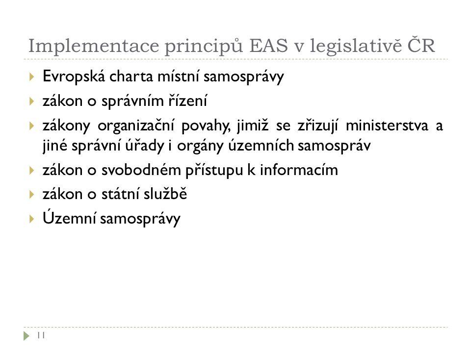 Implementace principů EAS v legislativě ČR 11  Evropská charta místní samosprávy  zákon o správním řízení  zákony organizační povahy, jimiž se zřiz