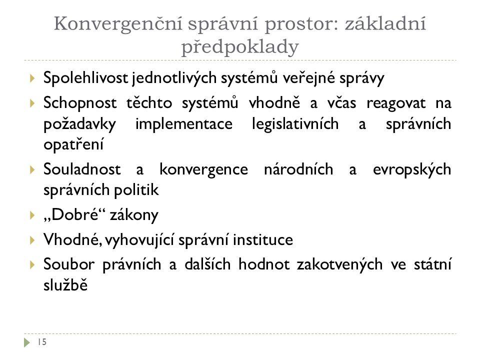 Konvergenční správní prostor: základní předpoklady 15  Spolehlivost jednotlivých systémů veřejné správy  Schopnost těchto systémů vhodně a včas reag