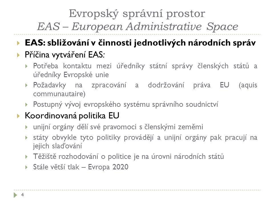 Evropský správní prostor EAS – European Administrative Space 4  EAS: sbližování v činnosti jednotlivých národních správ  Příčina vytváření EAS:  Po