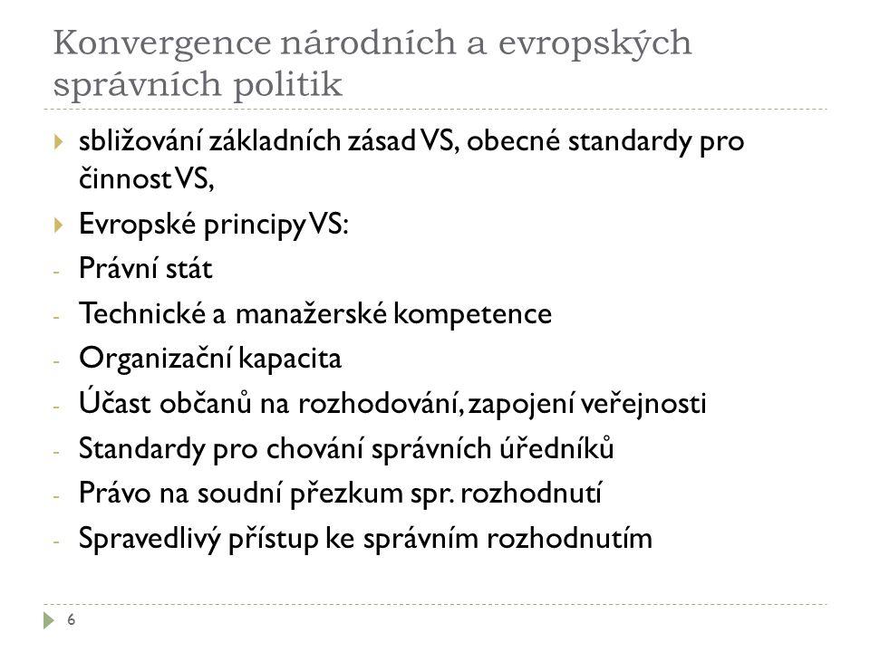 Konvergence národních a evropských správních politik 6  sbližování základních zásad VS, obecné standardy pro činnost VS,  Evropské principy VS: - Pr
