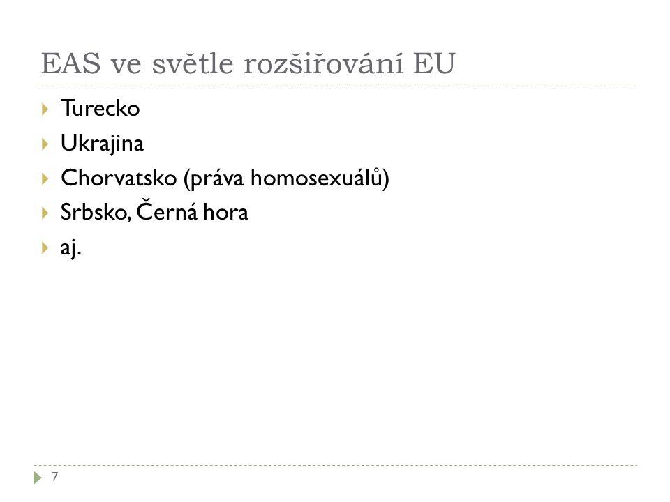 EAS ve světle rozšiřování EU 7  Turecko  Ukrajina  Chorvatsko (práva homosexuálů)  Srbsko, Černá hora  aj.