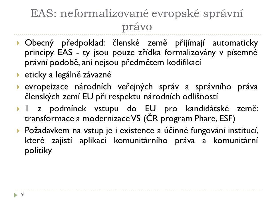 EAS: neformalizované evropské správní právo 9  Obecný předpoklad: členské země přijímají automaticky principy EAS - ty jsou pouze zřídka formalizován