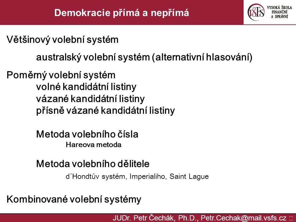 JUDr. Petr Čechák, Ph.D., Petr.Cechak@mail.vsfs.cz :: Demokracie přímá a nepřímá Většinový volební systém australský volební systém (alternativní hlas