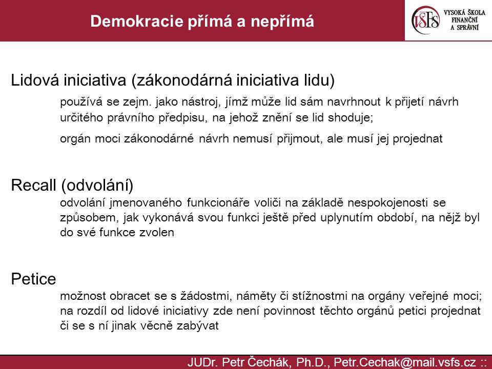 JUDr. Petr Čechák, Ph.D., Petr.Cechak@mail.vsfs.cz :: Demokracie přímá a nepřímá Lidová iniciativa (zákonodárná iniciativa lidu) používá se zejm. jako