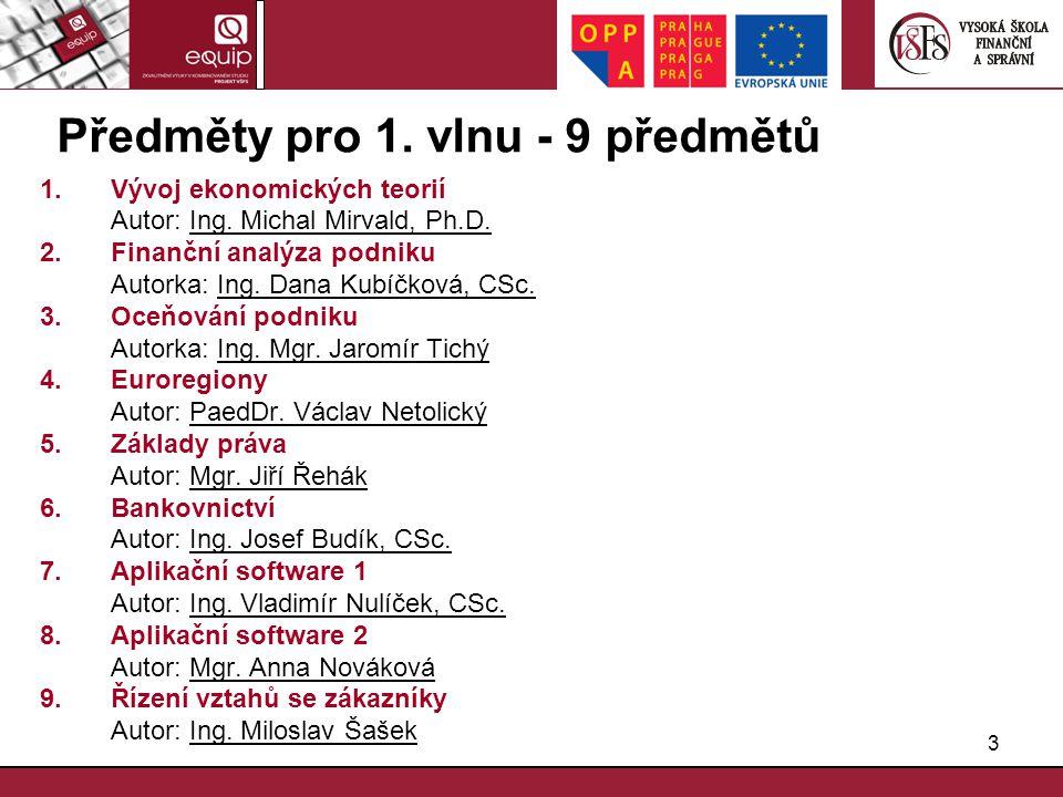 3 Předměty pro 1. vlnu - 9 předmětů 1.Vývoj ekonomických teorií Autor: Ing. Michal Mirvald, Ph.D. 2.Finanční analýza podniku Autorka: Ing. Dana Kubíčk