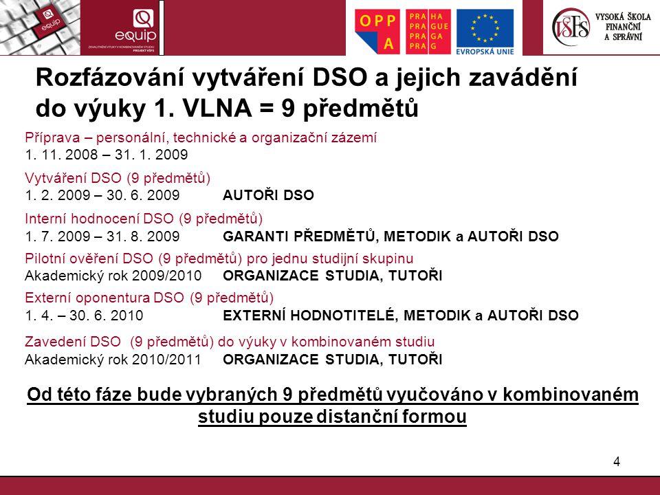 4 Rozfázování vytváření DSO a jejich zavádění do výuky 1. VLNA = 9 předmětů Příprava – personální, technické a organizační zázemí 1. 11. 2008 – 31. 1.