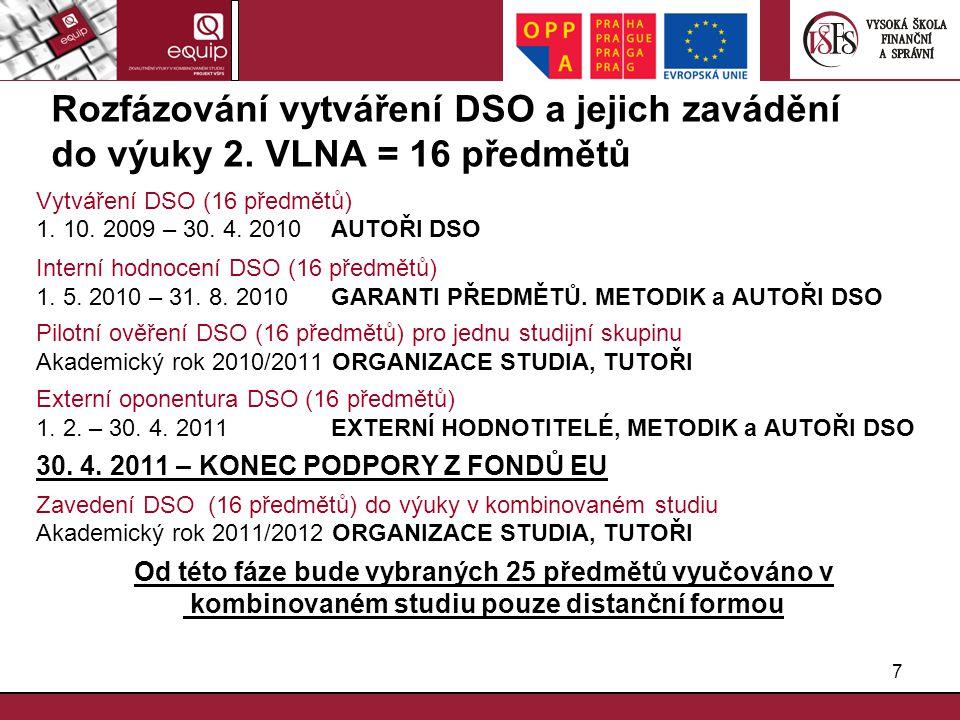 7 Rozfázování vytváření DSO a jejich zavádění do výuky 2. VLNA = 16 předmětů Vytváření DSO (16 předmětů) 1. 10. 2009 – 30. 4. 2010 AUTOŘI DSO Interní
