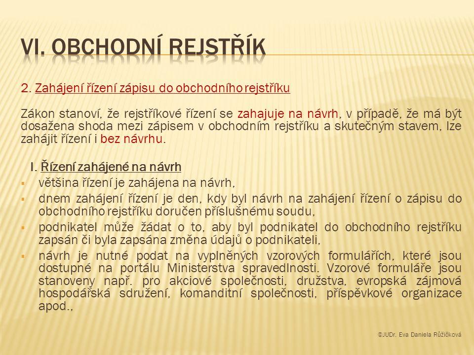 2. Zahájení řízení zápisu do obchodního rejstříku Zákon stanoví, že rejstříkové řízení se zahajuje na návrh, v případě, že má být dosažena shoda mezi