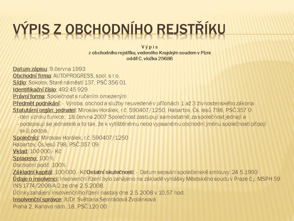 V ý p i s z obchodního rejstříku, vedeného Krajským soudem v Plzni oddíl C, vložka 25686 Datum zápisu: 9.června 1993 Obchodní firma: AUTOPROGRESS, spol.