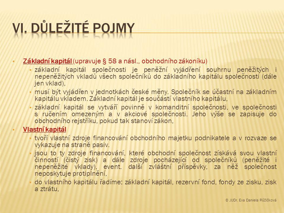  Základní kapitál (upravuje § 58 a násl., obchodního zákoníku)  základní kapitál společnosti je peněžní vyjádření souhrnu peněžitých i nepeněžitých vkladů všech společníků do základního kapitálu společnosti (dále jen vklad),  musí být vyjádřen v jednotkách české měny.