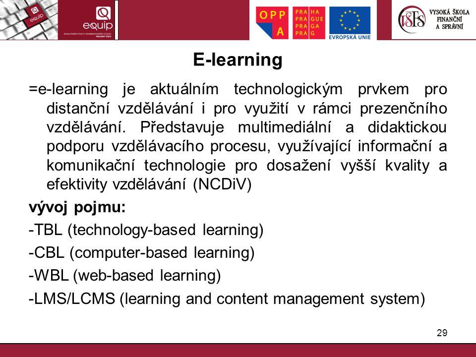 29 E-learning =e-learning je aktuálním technologickým prvkem pro distanční vzdělávání i pro využití v rámci prezenčního vzdělávání. Představuje multim