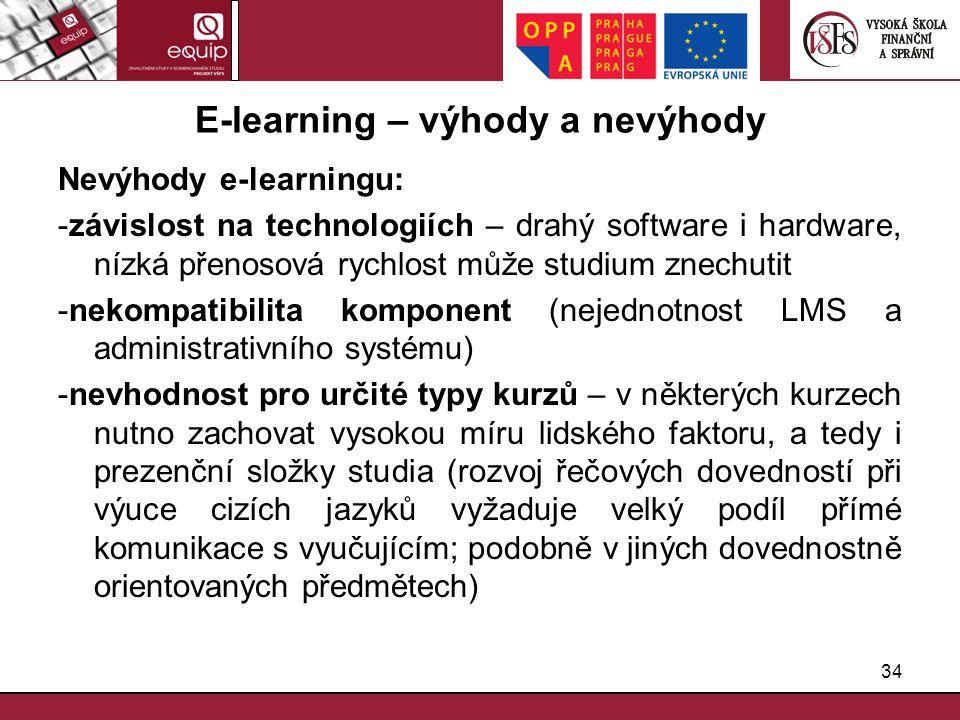 34 E-learning – výhody a nevýhody Nevýhody e-learningu: -závislost na technologiích – drahý software i hardware, nízká přenosová rychlost může studium