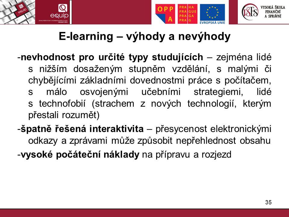 35 E-learning – výhody a nevýhody -nevhodnost pro určité typy studujících – zejména lidé s nižším dosaženým stupněm vzdělání, s malými či chybějícími