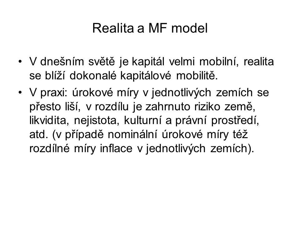 Realita a MF model V dnešním světě je kapitál velmi mobilní, realita se blíží dokonalé kapitálové mobilitě. V praxi: úrokové míry v jednotlivých zemíc