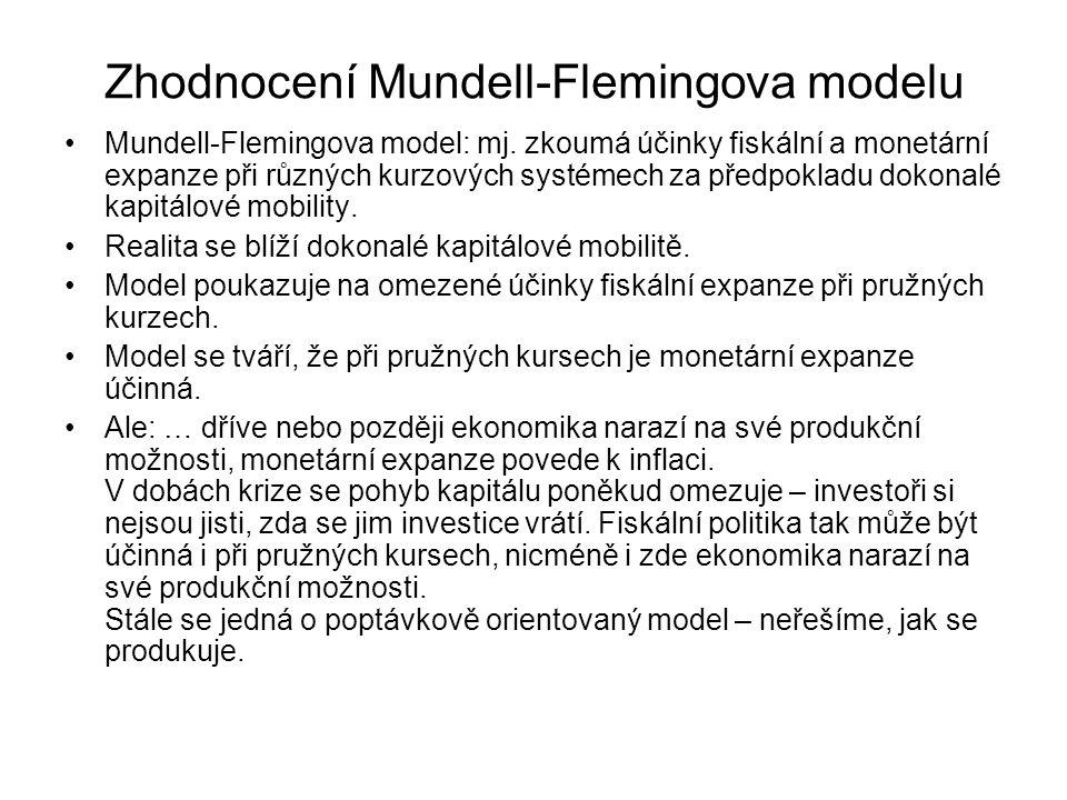 Zhodnocení Mundell-Flemingova modelu Mundell-Flemingova model: mj. zkoumá účinky fiskální a monetární expanze při různých kurzových systémech za předp