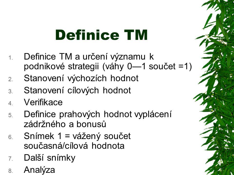 Definice TM 1.Definice TM a určení významu k podnikové strategii (váhy 0—1 součet =1) 2.
