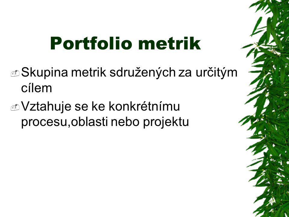 Portfolio metrik  Skupina metrik sdružených za určitým cílem  Vztahuje se ke konkrétnímu procesu,oblasti nebo projektu