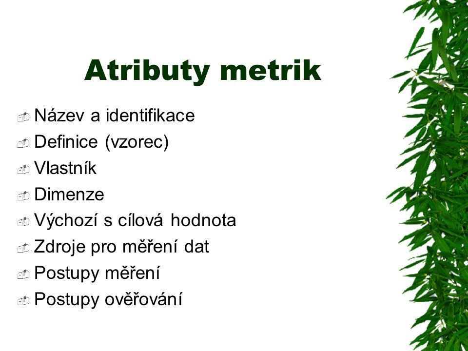 Atributy metrik  Název a identifikace  Definice (vzorec)  Vlastník  Dimenze  Výchozí s cílová hodnota  Zdroje pro měření dat  Postupy měření  Postupy ověřování