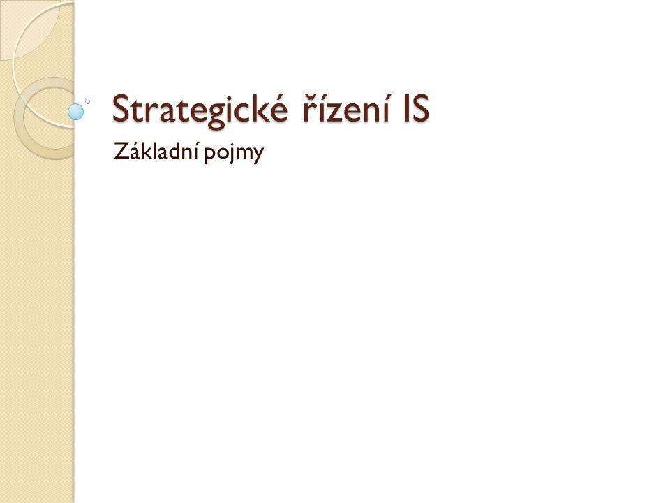 Strategické řízení IS Základní pojmy
