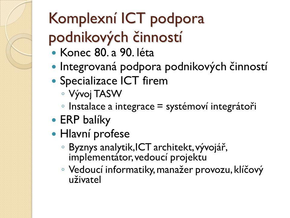 Komplexní ICT podpora podnikových činností Konec 80. a 90. léta Integrovaná podpora podnikových činností Specializace ICT firem ◦ Vývoj TASW ◦ Instala
